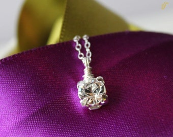 Stunner Swarovski Solitaire on Sterling Silver, Solitaire Necklace, Diamond Like Necklace, Crystal Necklace, Bridal Party Necklace