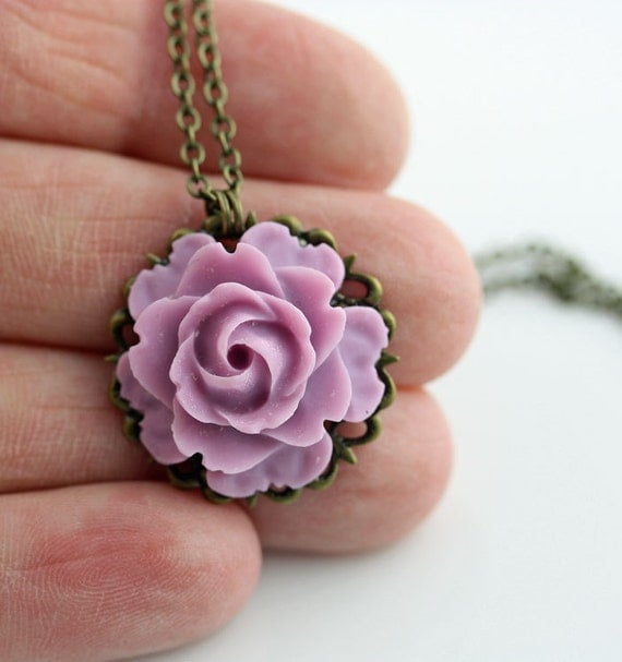 Close Out Sale, Soft Lilac Rose Bloom on Antiqued Brass Necklace