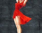 Vintage Pin Up Girl on Charcoal Background - LADY IN RED -PU25 -Instant  Digital Download - Bonus Sheet On Me