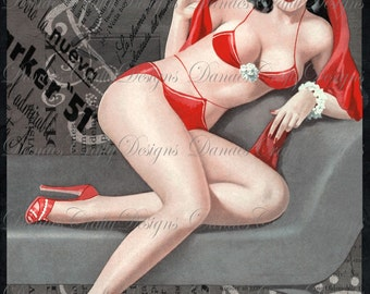 Vintage Vixen- Vintage Pin Up Girl on Charcoal Collage Background - PU28- Digital Download - Bonus Sheet My Treat