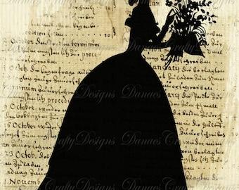 Flowers For Ella- Vintage Silhouette Collage on Aged Script Background - S12- Digital Download - Bonus Sheet My Treat