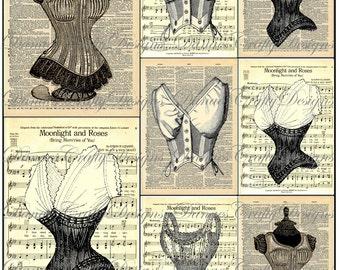 Vintage Corset Collage Sheet - CS5 -8 - Digital Download - Bonus Sheet My Treat