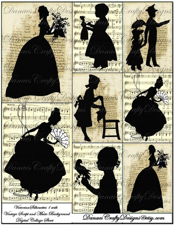 Victorian Silhouettes on Vintage Script and Sheet Music Backgrounds - Digital Download - Bonus Sheet My Treat