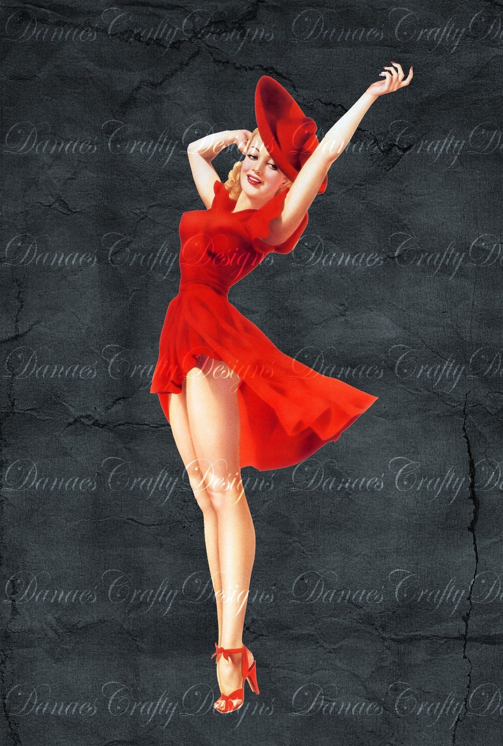 vintage pin up girl on charcoal background lady in red pu25. Black Bedroom Furniture Sets. Home Design Ideas