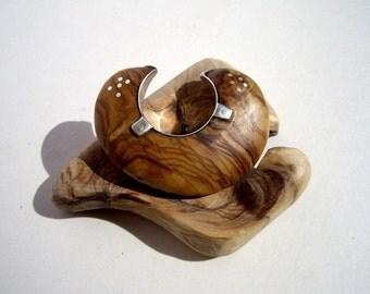 olive wood ring for sign finger silver sterling