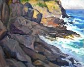 Monhegan Surf. Large Realist Oil Landscape Painting on Canvas, 22x26 Strip Framed Impressionist Seascape, Signed Original Fine Art