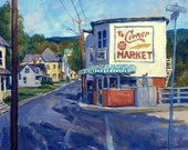 The Corner Market, North Adams, Massachusetts. Large Original Oil on Canvas, 28x22 Urban Landscape Painting, Signed Original Cityscape