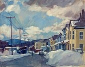 River Street in Snow, North Adams, Massachusetts. Large Cityscape Painting Oil on Canvas, 20x20 Urban Winter Scene, Signed Original Fine Art