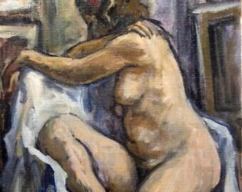 Female Nude, Twist. Original Oil Painting, 28x22 Oil on Canvas, Large Strip Framed Realist Figure Painting, Signed Original Fine Art