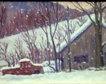 Snow, Truck, Barn, Berkshires. Original Oil Painting Landscape, 8x12 Oil on Panel, Strip Framed Impressionist Fine Art, Signed Original