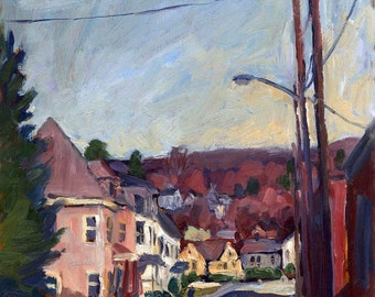 River Street in Autumn, North Adams, Massachusetts. Framed Plein Air Impressionist Oil Landscape Painting, 10x8 Signed Original Fine Art