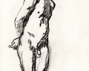 Charcoal Figure Drawing,  Male Nude, Standing. Original Charcoal Drawing in 12x16 Mat