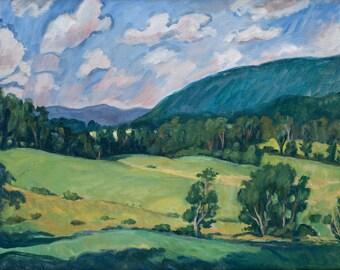 July Reverie, Berkshires. 24x30 Realist Oil Painting Landscape on Canvas, Large Plein Air Impressionist Signed Original Fine Art