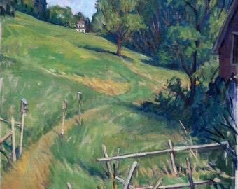 Oil Painting Landscape, Summer Field, Berkshires. Large Original Plein Air Fine Art, 18x24 Oil on Canvas, Signed Original, Signed Original