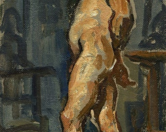 The Actor, Original Figure Painting. Oil on Canvas, 12x6 inch Classic Male Nude, Life Drawing Studio Fine Art, Signed Original Oil Painting