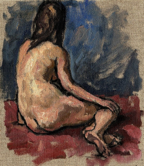 Figure Painting, Female Nude/Blue and Rose, Original Oil on Canvas, Small Figure Painting