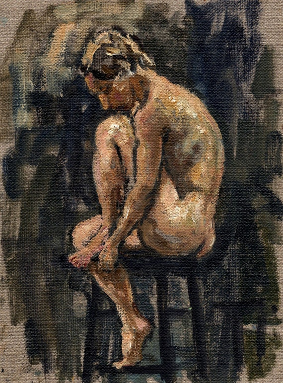 All Curled Up, Original Oil Painting. 8x6 Oil on Canvas, Small Realist Figure Painting, Female Nude, Signed Original Fine Art