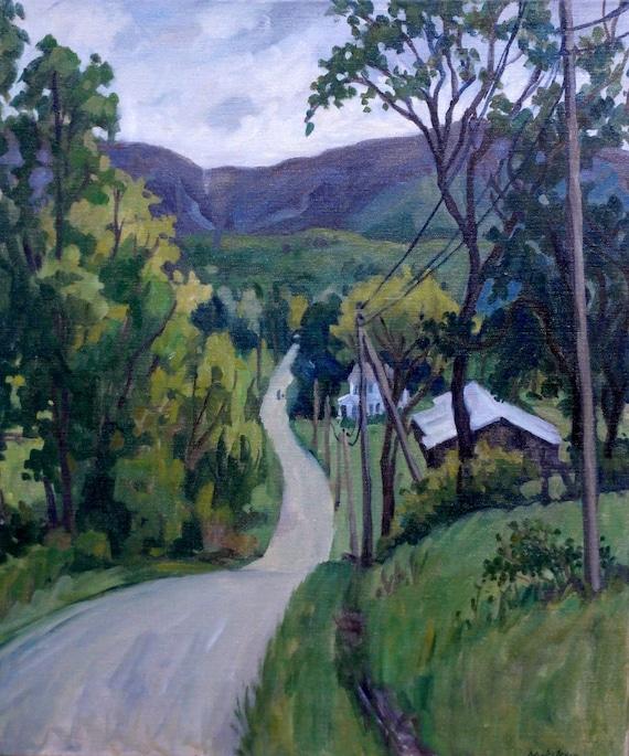 June Drizzle, Berkshires. Original 20x24 Oil Landscape Painting on Canvas, Large Rain Plein Air Impressionist Fine Art, Signed Original Oil