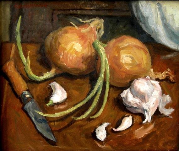 Still Life / Onions, Garlic, Knife. Original Oil on Panel, Classic Realist Interior Painting