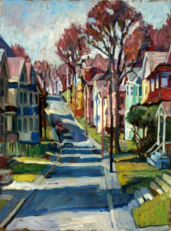Oil Painting Landscape, American Street, Long Shadows. Original Plein Air Impressionist Painting