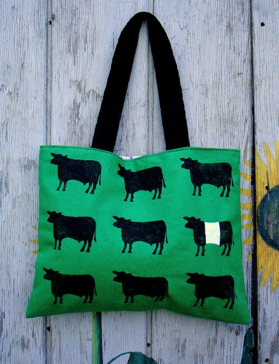 Hand Stamped Cows Green Tote Bag by SBMathieu