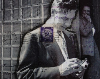 A Man and His Camera - original 6x6 mixed media collage