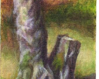 Original Small Acrylic Painting Landscape Painting - Woodland Art Painting of Tree