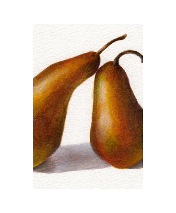 Original Acrylic Painting Small Still Life of Pears, Minimalist Food Art for Rustic Country Kitchen Decor