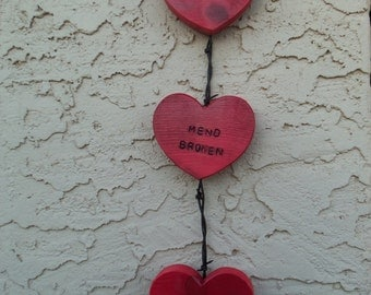 Barbed Wire And Wood Wall Hanging Hearts
