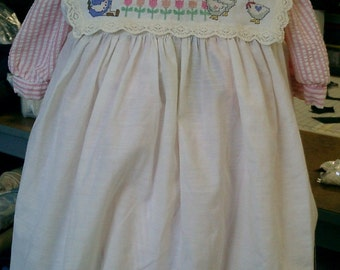 Vintage Pinafore, Upcycled Toddler's Crosstitched Pinafore