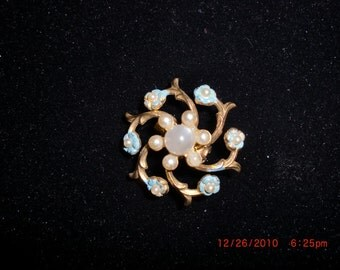 Vintage Brooch, Petite Blue Enamel Pin, Scarf Pin,  Posies and Pearl Cabochons
