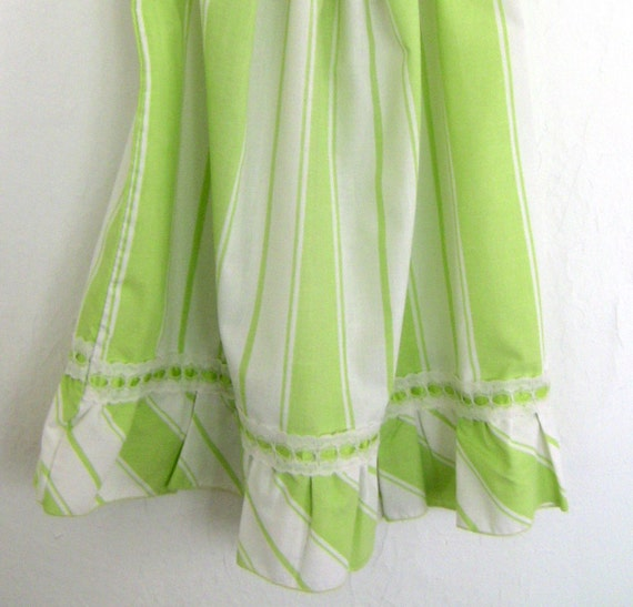 RESERVED - Vintage Pillowcase Dress - Green and White Stripes