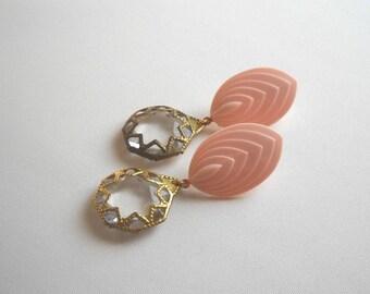Romantic Pink and clear Earrings long stud earrings