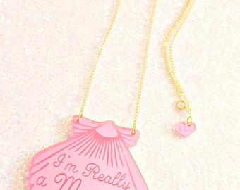 Pink Mermaid Shell Necklace / Mermaid Jewelry