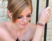 Salmon Pink & Denim Blue Quartz Cuff / Teardrop Gemstone Bangle / Sterling Silver / Multicolor Bracelet / Gifts For Her / Orange / OOAK