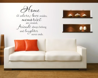 Home is where, love resides, memories are created, friends always belong and laughter never ends - Vinyl Wall Decal Quote - Home Decor