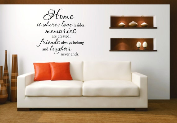 Vinyl Wall Decal Home is where, love resides, memories are created, friends always belong and laughter never ends - Vinyl Wall Decal Quote