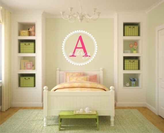 Vinyl Wall Decal Child's Name or Last Name Monogram - Wall Quote - Nursery Vinyl Wall Decal - Child's Room Vinyl Wall Decal