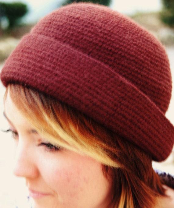 Vintage 1960's Brown Knit Hat with Tassels