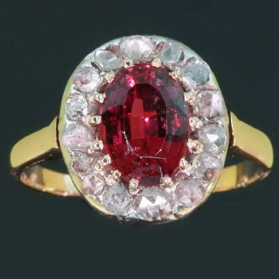 Victorian ring red tourmaline 18kt rose gold Antique jewelry