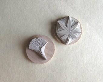 Japanese Maple Leaf and Ginkgo Leaf Hand-Carved Rubber Stamp Set