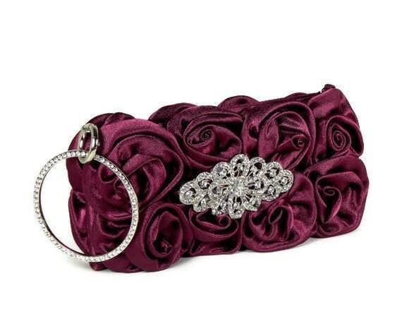 Burgundy Clutch, Bridal Clutch, Bridesmaids Clutch, Wristlet Style Clutch, Rosettes, Vintage Style Crystal Brooch