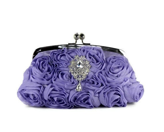 Lavender Bridal Clutch, Bridesmaid Clutch, Wedding Purse, Evening Bag with Swarovski Crystal Brooch