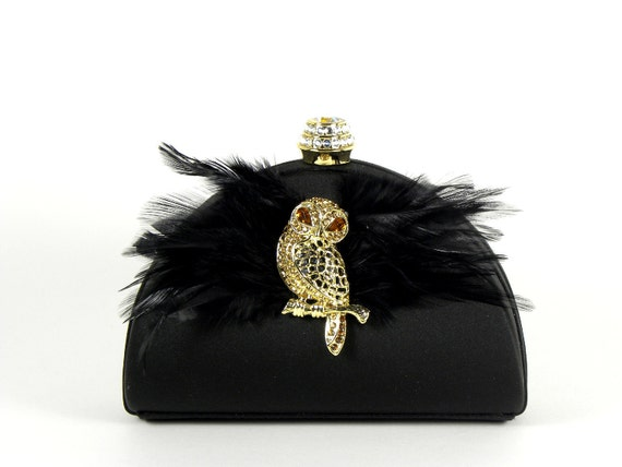 Reserved for Melissa - FINAL CLEARANCE SALE - Black Satin Minaudiere Clutch Evening Bag with Gold Amber Owl and Crystal Closure