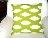 Green White Pillow Covers, Throw Pillow, Cushion Covers, Lime Green White Ikat Chaz, Euro Sham, Couch Bed Sofa , One or More ALL SIZES