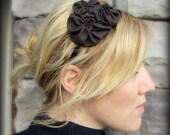 Fabric Flower Headband, Chocolate Brown Rosette Trio Cluster for Women and Girls