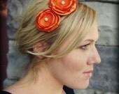 Orange Double Flower Headband for Women and Girls