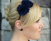 Adult Hair Band in Navy Blue - Shabby Chic Flower for Teens and Women