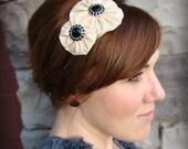 Cream Jeweled Headband-Double Flower for Women and Girls