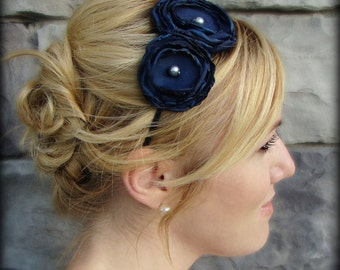 Woman's Double Flower Headband in Navy Blue, Headband for Adults and Girls